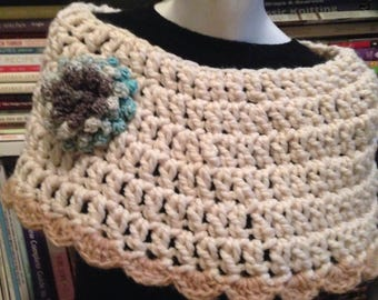 Oatmeal Boho Crocheted Shawl Capelet Poncho with Aqua Statement Flower Brooch