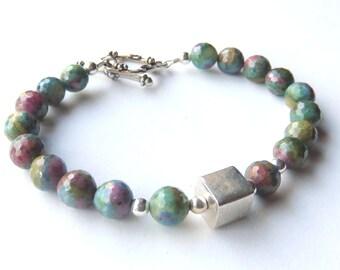 Ruby Zoisite Bracelet, Modern Gemstone Bracelet, Sterling Silver, Green and Cranberry Gemstones, Beaded Jewelry, Fall Fashion Accessory