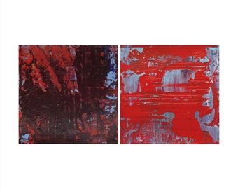 Set of 2 Small Abstract Paintings, Merlot + Candy Apple, Textured Acrylic, Modern Abstract Art, Minimalist Paintings, Reductive Art, Diptych
