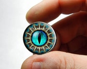 Dragon Glass Eyes - Blue Tribal 3 Reptile Eyeball Cabochon for Pendant Earring Ring Blanks - Pair or Single - You Choose Size