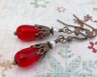 Red Earrings, Valentine Earrings, Victorian Valentine Earrings, Swarovski Pearl Earrings, Boho Bohemian Jewelry, Dangle Earrings, Petite