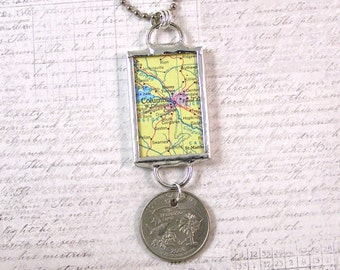 Columbia South Carolina Map and Coin Pendant Necklace