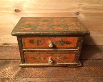 Florentine jewelry box with two drawers - gold and orange - possibly Florentia - made in Italy