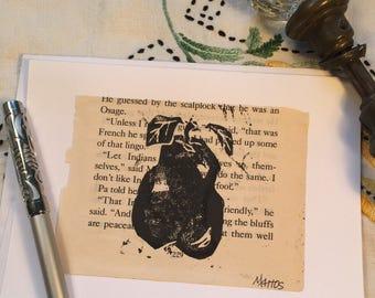 Hand printed blank greeting card original linocut inked art print up upcycled mixed media pear shabby chic decor farm