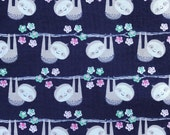 Weighted Blanket - Adult or Child - Sloths on Navy - Choose your weight (up to 15 lbs) and minky color - custom