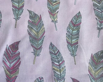 Weighted Blanket - Adult or Child - Pastel Feathers on Pink - Choose your weight (up to 15 lbs) and minky color
