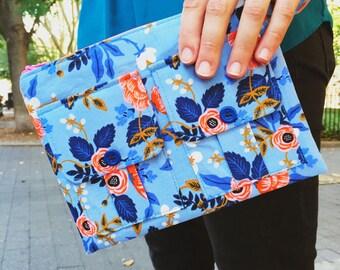 Wallet Wristlet, Floral Wallet, Cell Phone Wallet, Wristlet Purse for Women, Blue Wallet, Large Wristlet, Wrist Wallet