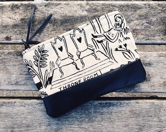 Forest Black Leather Coin Purse, Zipper Pouch, Change Purse, Small Leather Pouch, Gift for Her