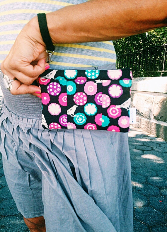 Black Wristlet Wallet, Fabric Wallet, Cell Phone Wristlet, Small Wristlet, Black Wristlet Purse