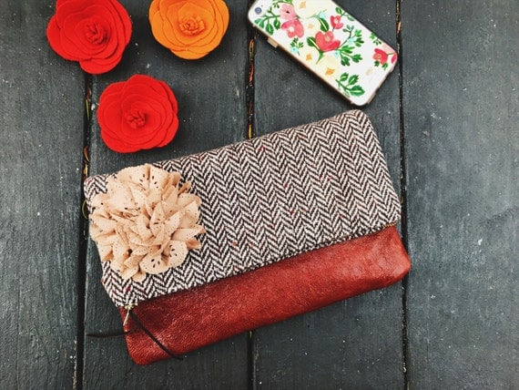 Brown Wool Tweed Leather Clutch Purse, Evening Bag, Foldover Clutch Bag, Womens Clutch Bag, Bridesmaid Clutch, Gift for Her