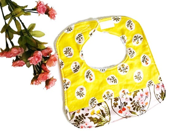 Floral Yellow Baby Girl Bib, Infant Bib, Baby Shower Gift, Drool Bib