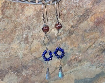 LABRADORITE, GARNET, and LAPIS Lazuli earrings, linear earrings, woven jewelry, sterling silver, Angry Hair handmade jewelry