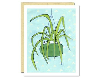 Spider Plant Notecard // Single Card // Everyday Card // Houseplant // Blank Notecard // Cute Card // NW Artist // Rachel Austin Card