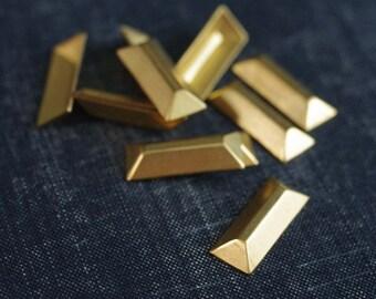 Small 23x9mm Faceted Rectangle Bar Stampings - 12pcs - Raw Brass - Gold Bar - Brass Rectangle Embellishment - Metallic Gem - Baguette
