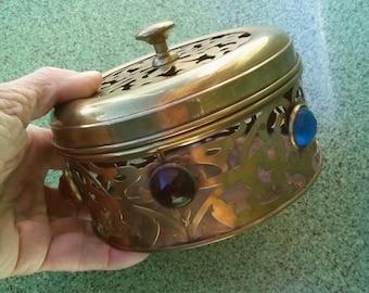 Vintage 1950s Brass Box Jeweled Treasure Chest Stash Jewelry Vanity