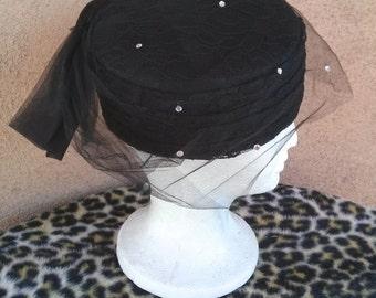 Vintage 1960s Hat 60s Pillbox Black Lace Veil Rhinestones
