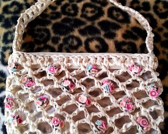 Vintage 1960s Purse 60s Handbag Woven With Flowers