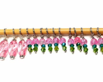 Gorgeous glass beaded stitch markers- Shawl Set (16 markers), fit 5.5 mm knitting needles
