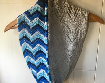Hand knit blue chevron and pale gray lace cowl/infinity scarf