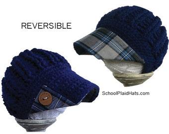 Royal blue winter hat plaid brim - reversible - tartan plaid fabric brim hat wholesale hats girlfriend gift for her teen gift winter hat