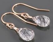 YEAR END SALE Rutilated Quartz Earrings. Rose Gold Filled Ear Wires. Genuine Gemstone. Black Gem. Red Gold-Filled. Pink Goldfilled. f16e190
