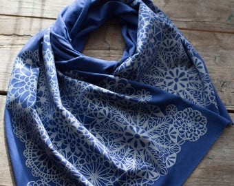 Soft and silky blue bamboo scarf with hand-printed Silver Lace pattern. Handmade gifts, Made in Maine, Maine Made