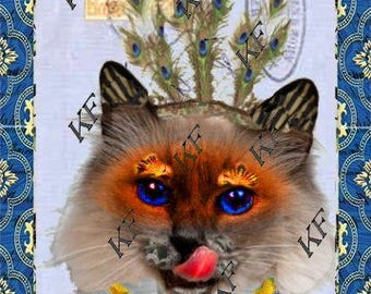 Pop Art Kitty Cat - 5x7 - Instant Download