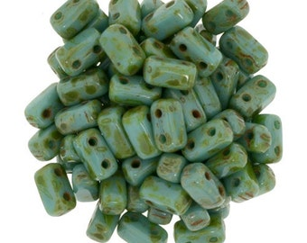 CzechMates Brick Beads 2 Hole Persian Turquoise Picasso 3x6mm 50pcs