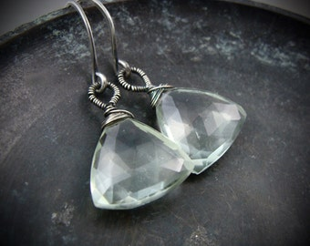 trillion ... green amethyst earrings