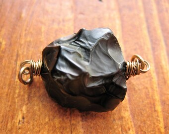 Hammered Tumbled Black Agate Bead Connector - 1 piece - 35mm in length