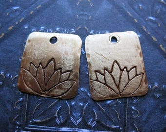 Antiqued Brass Lotus Stamped Small Rectangles - 1 Pair - 15mm in length