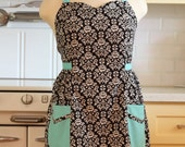 Retro Apron Plus Size Sweetheart Neckline Black and White Floral Damask with Aqua BETTY
