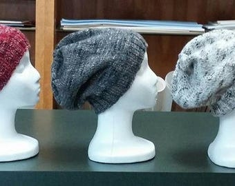 HAT - GREY - new pattern from Plymouth - Slouch or turned brim Coffee Beenz - Grey - 75 percent acrylic - 25 percent wool - easy care
