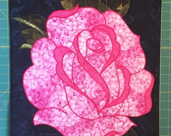 MKCQ - Pink Rose - Quilted Wall Hanging