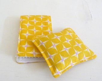 Bright Yellow Cotton Print Needle Case and Pincushion, matching set