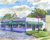 Kepley's BBQ Plein Air Watercolor High Point, North Carolina- Print in multiple sizes