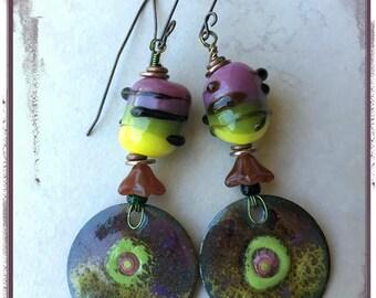 Purple and Green Enamel Charm Earrings with Lampwork Beads