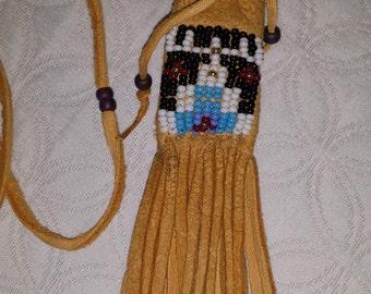 Hand Beaded Navajo Medicine Bag