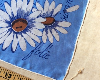 Vintage Silk Scarf,Kerchief,French Themed,France,Daisy Scarf,Scarves,Daisy Petal,He loves me He loves me not,Collectible Scarf,Neck scarf