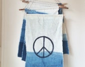 NEW Peace Banner, Hand Dyed Linen and Indigo Wall Hanging, Anna Joyce, Hand Dyed