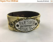 40% OFF- Stamped Leather Cuff-Blessed Assurance-Hymn-Fanny Crosby-Word Cuff-