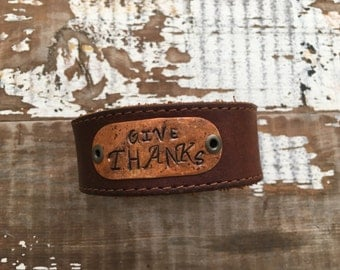 Stamped Leather Cuff-Give Thanks-Word Cuff-Thanksgiving Collection