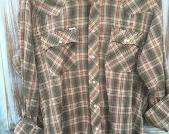 SALE- Vintage Western Shirt-Women- Plaid-Pearl Snaps