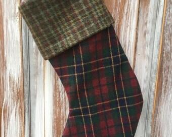 SALE- Wool Stocking -Christmas Stocking-Upcycled Wool-Eco Friendly