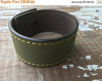 40% OFF- Custom Leather Cuff-Create Your Own-Green Stitched Leather-Word Cuff