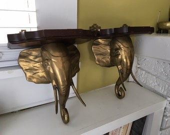 Brass Elephant Wall Shelves / Pair / Oriental Flair / Rich Wood Tops / Hollywood Regency