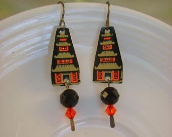 Pagoda - Vintage Recycled Hand Cut Tin Earrings Oriental Asian Pagoda - Recycled Tin Earrings 10 Year Anniversary Gift