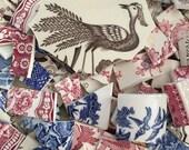 Mosaic Supplies Tiles Vintage Transferware Blue Red Lot Mix Flower chintz Broken Plate Tesserae 300 Antique