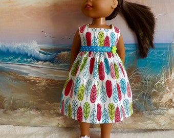 "14  and 14.5"" Doll Dress Bright Feather Pattern Turquoise Pink and Lime Fits Dolls Like H4H and Wellie Wishers"