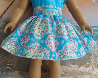 18 Inch Doll Skirt fit like American Girl Bright Turquoise Geometric Design Very Gathered 1950s Retro Look